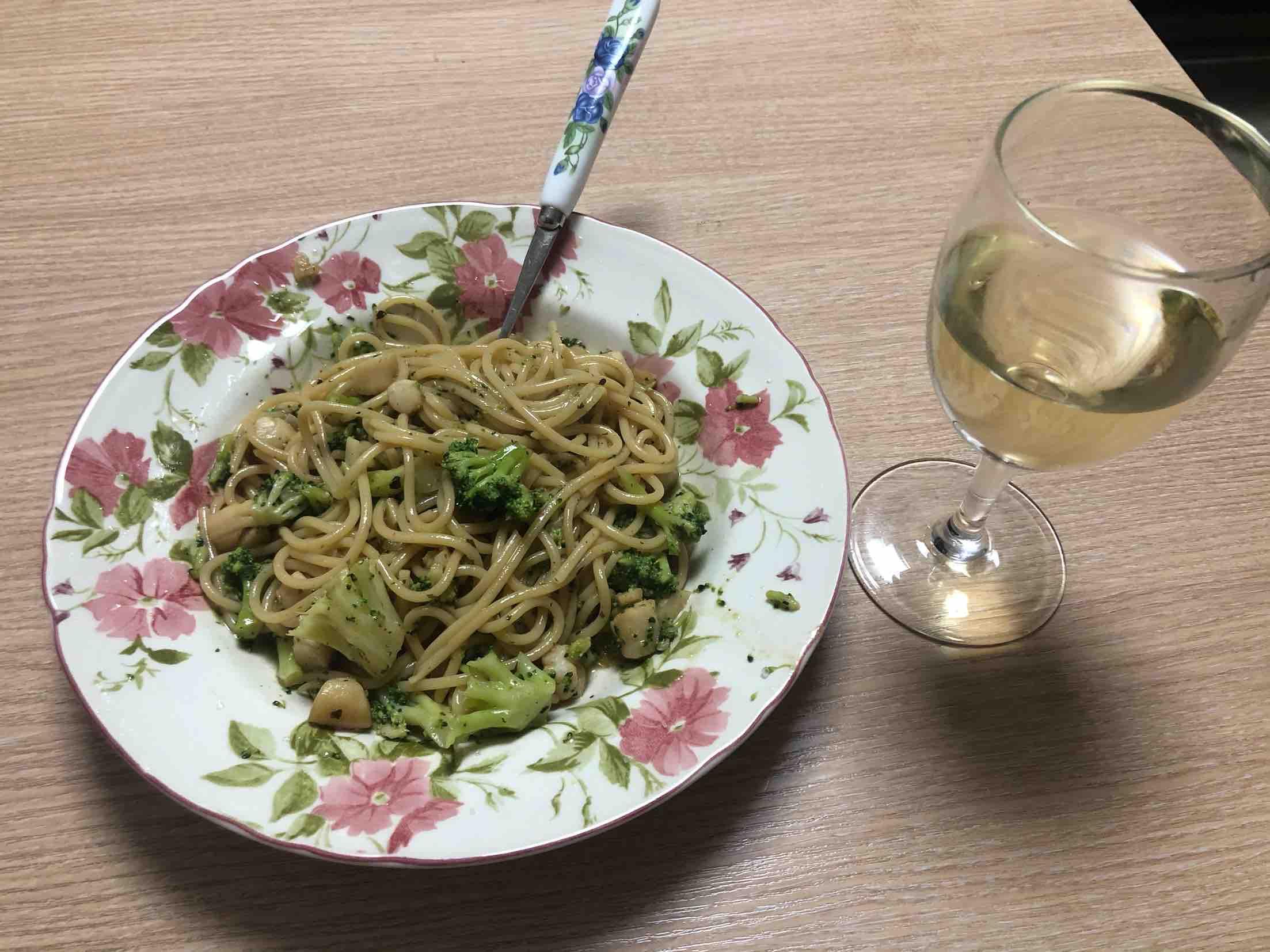 瑶柱西兰花意面(scallops spaghetti)成品图