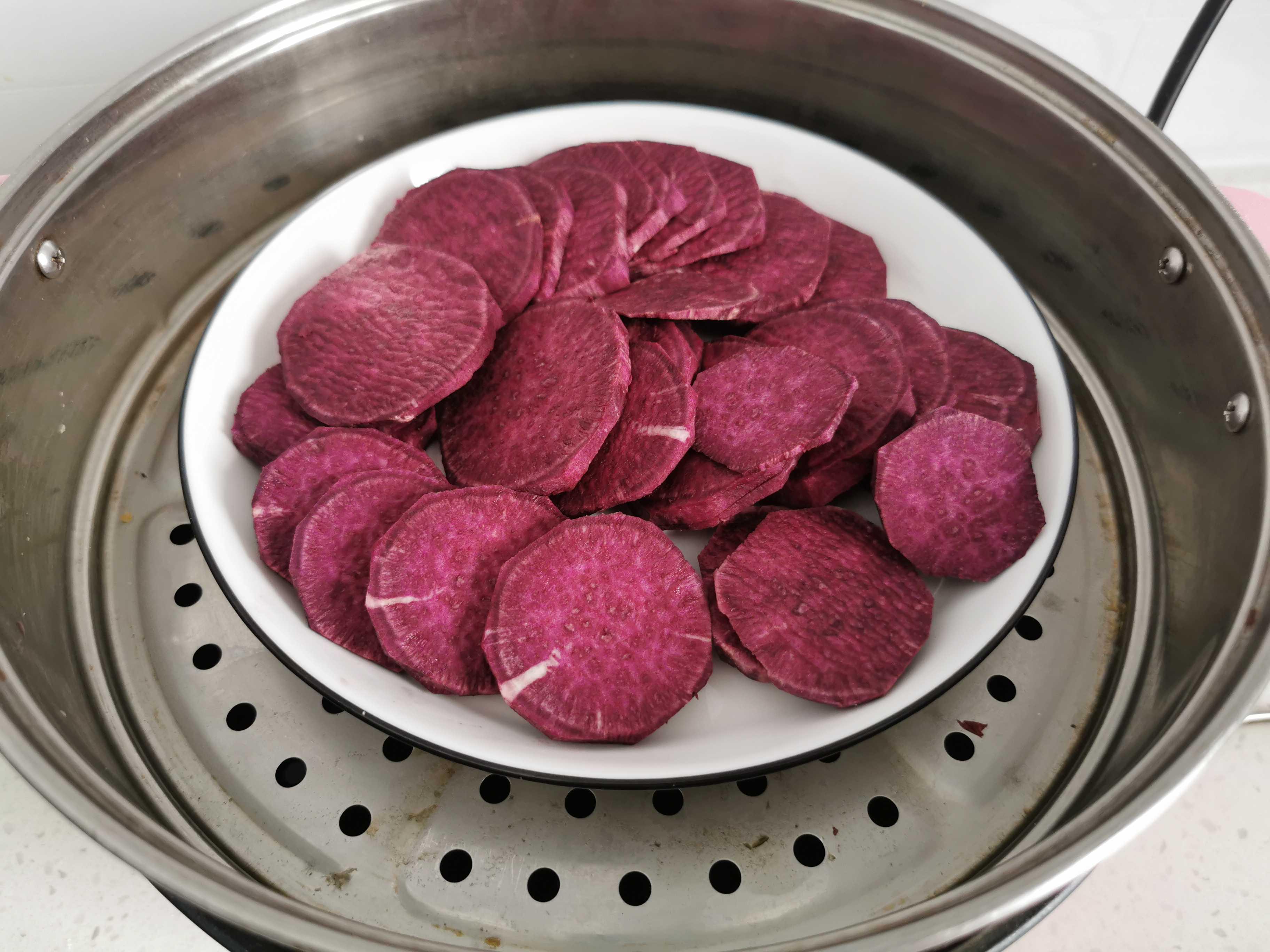 香甜软糯又饱腹的小吃:紫薯糯米饼的做法图解