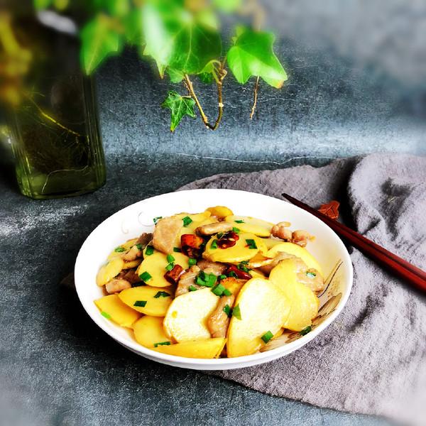 慈菇炒肉片成品图