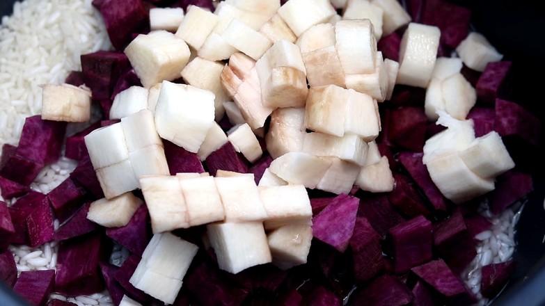 紫薯山药粥➕土豆胡萝卜蛋饼的做法图解