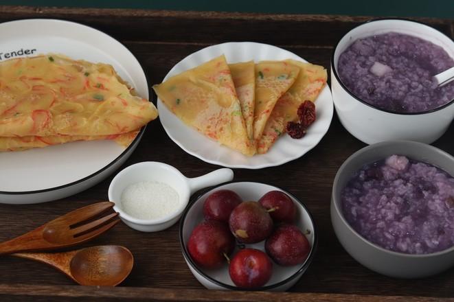 紫薯山药粥➕土豆胡萝卜蛋饼怎么煸