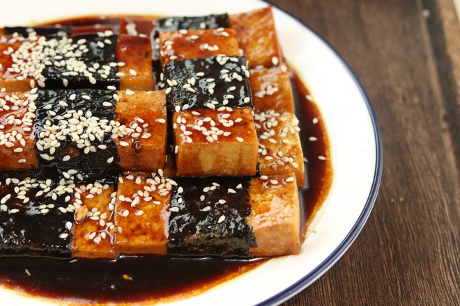 照烧海苔豆腐成品图