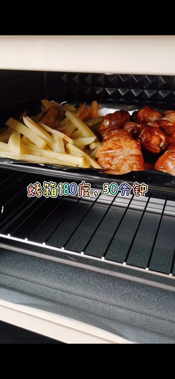 烤鸡腿+薯条怎么做
