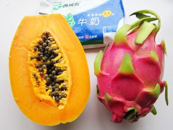 木瓜火龙果奶昔的做法大全