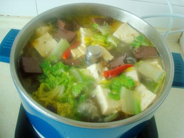 白菜豆腐炖血块怎么煮