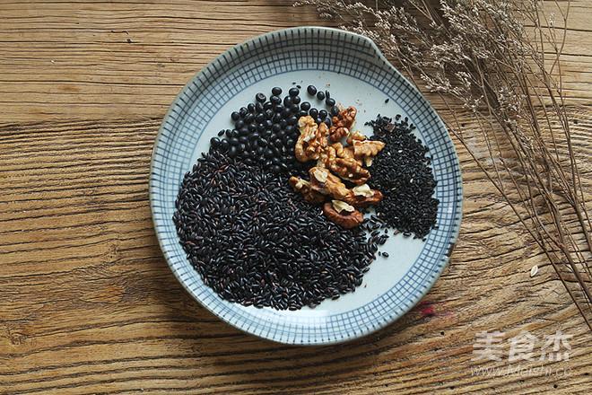 核桃黑豆黑米黑芝麻粥的步骤