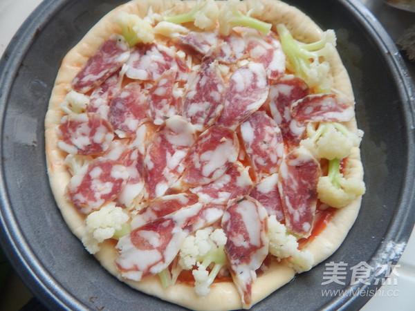 花菜香肠披萨怎么吃