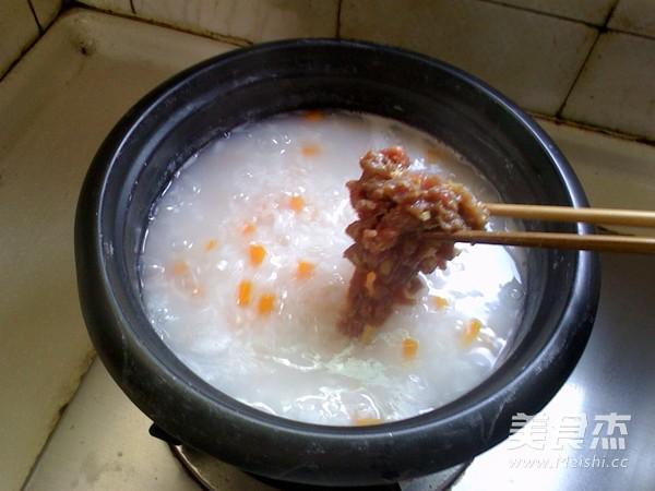 胡萝卜牛肉粥怎么炒