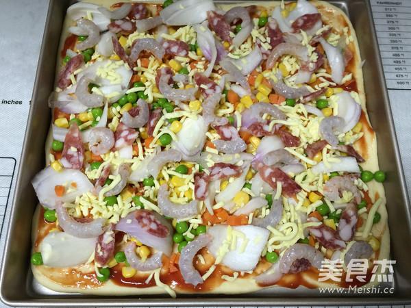 虾仁香肠披萨怎么煮