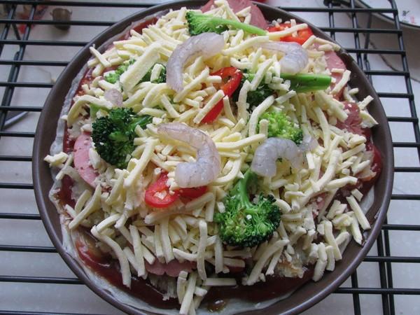 鲜虾披萨怎么吃