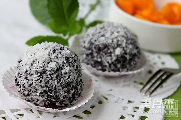紫米椰香芒果球成品图