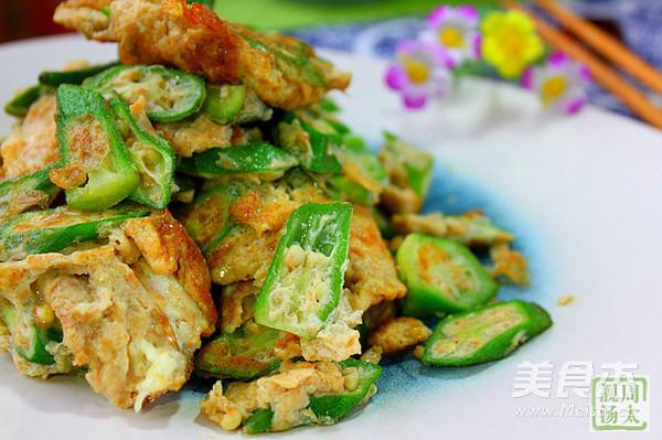 秋葵虾酱炒鸡蛋怎么炒