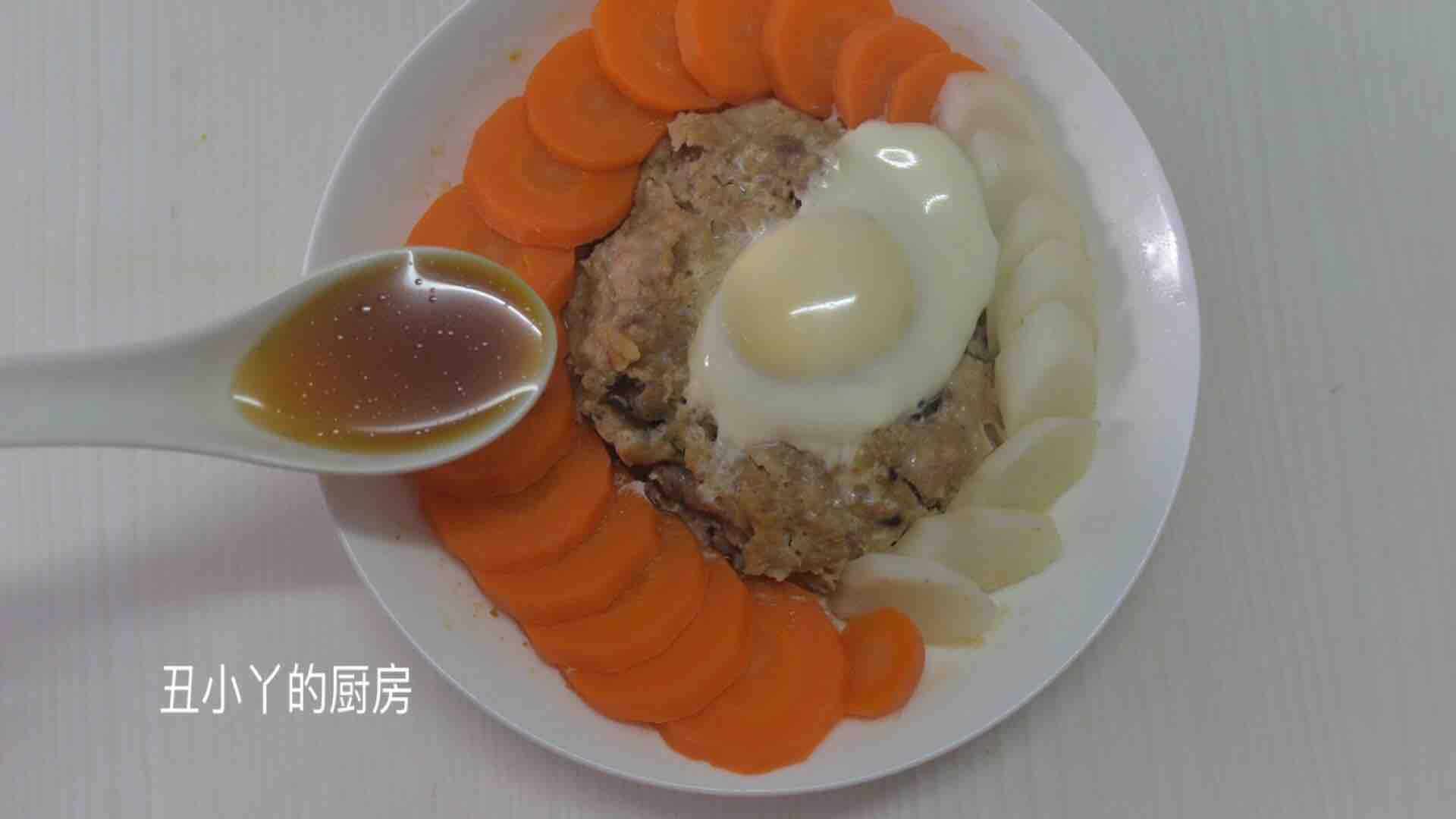 红萝卜+山药+马蹄蒸肉饼+蒸蛋怎么炒