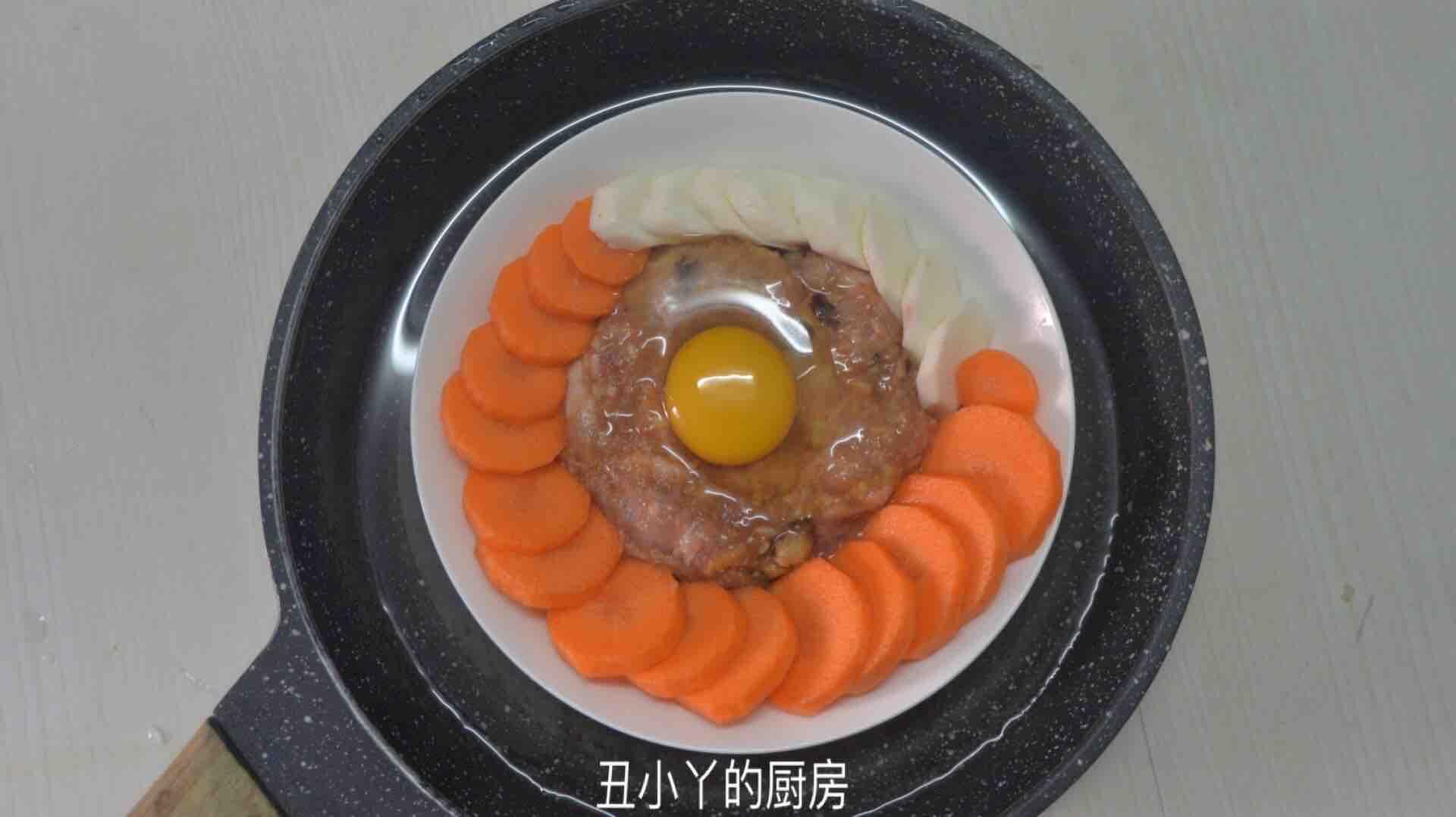 红萝卜+山药+马蹄蒸肉饼+蒸蛋怎么做