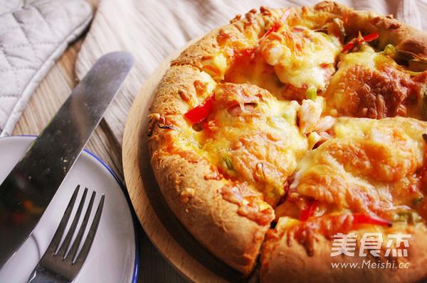 辣味虾仁培根香肠披萨怎样做