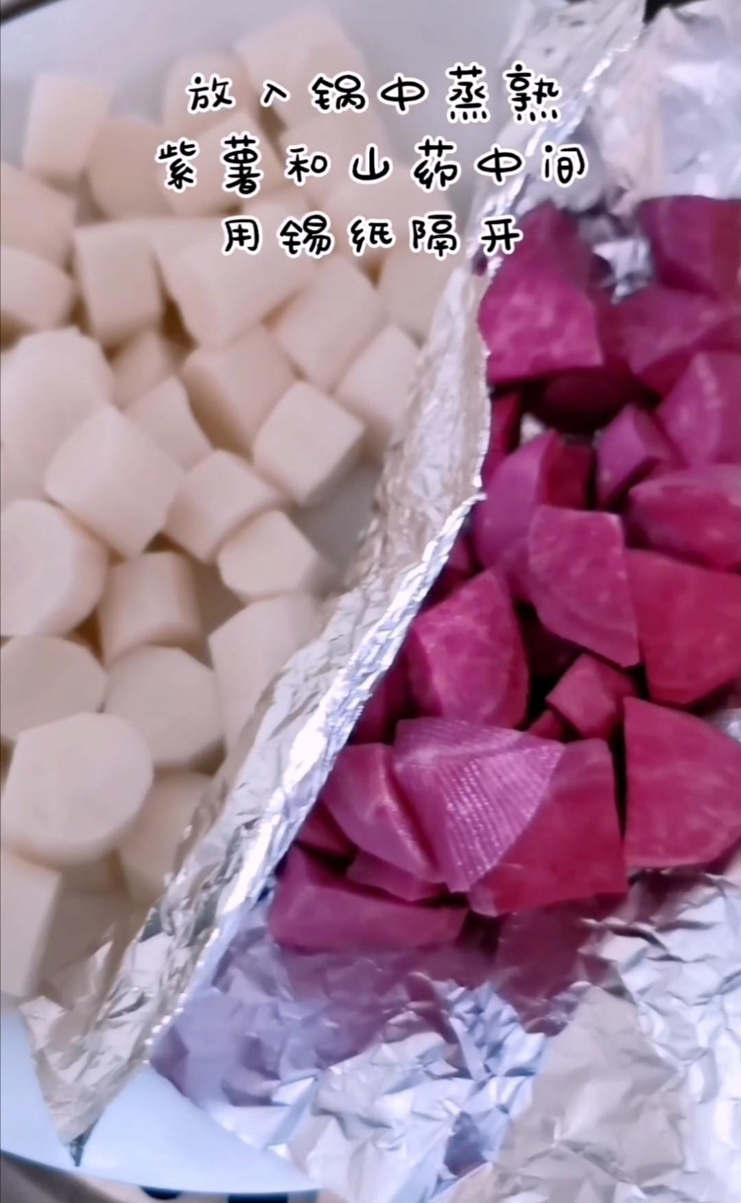 美容养颜的蜂蜜山药紫薯糕的做法图解