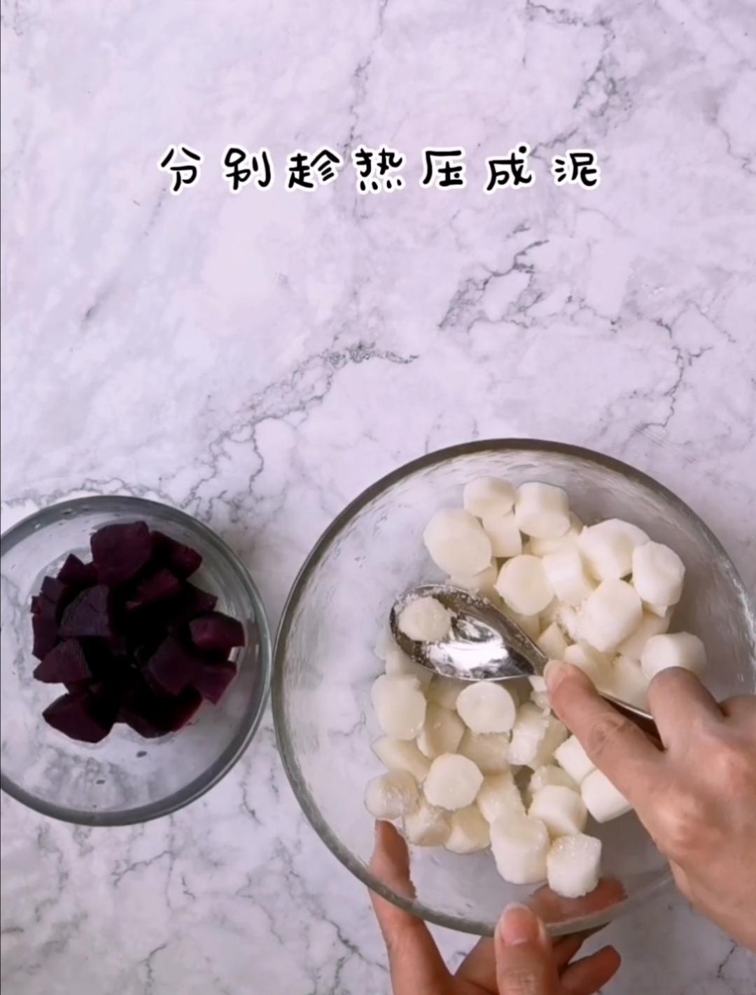 美容养颜的蜂蜜山药紫薯糕的家常做法