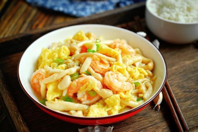 鸡蛋虾仁炒榛蘑怎么煮