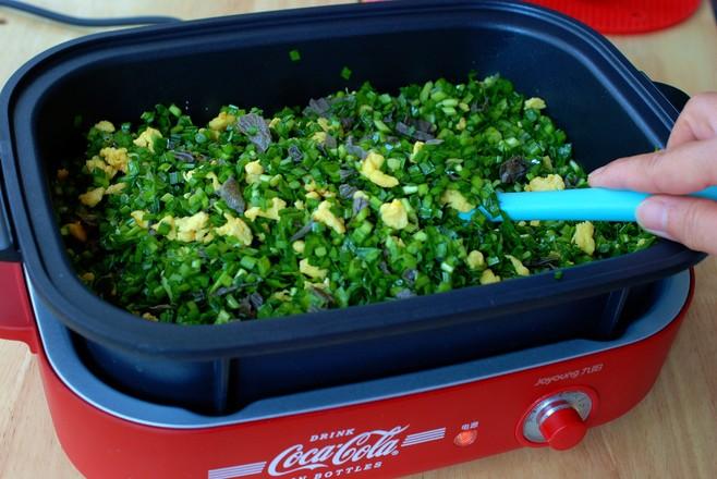 薄皮大馅儿韭菜盒子,透过皮就能看到馅儿的步骤