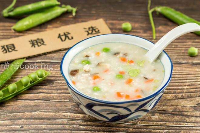 香菇肉末豌豆粥成品图