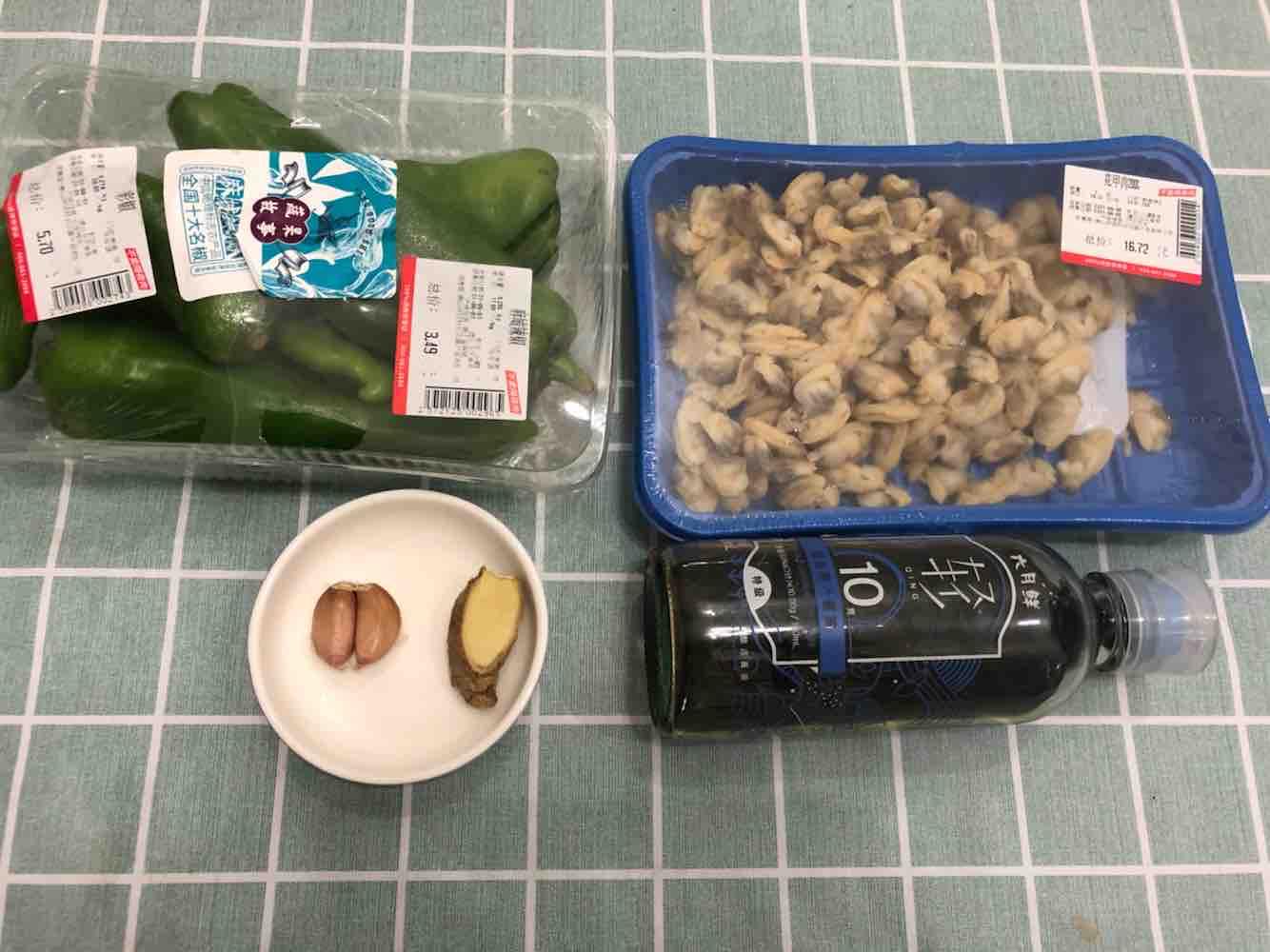 青椒炒花甲肉的步骤