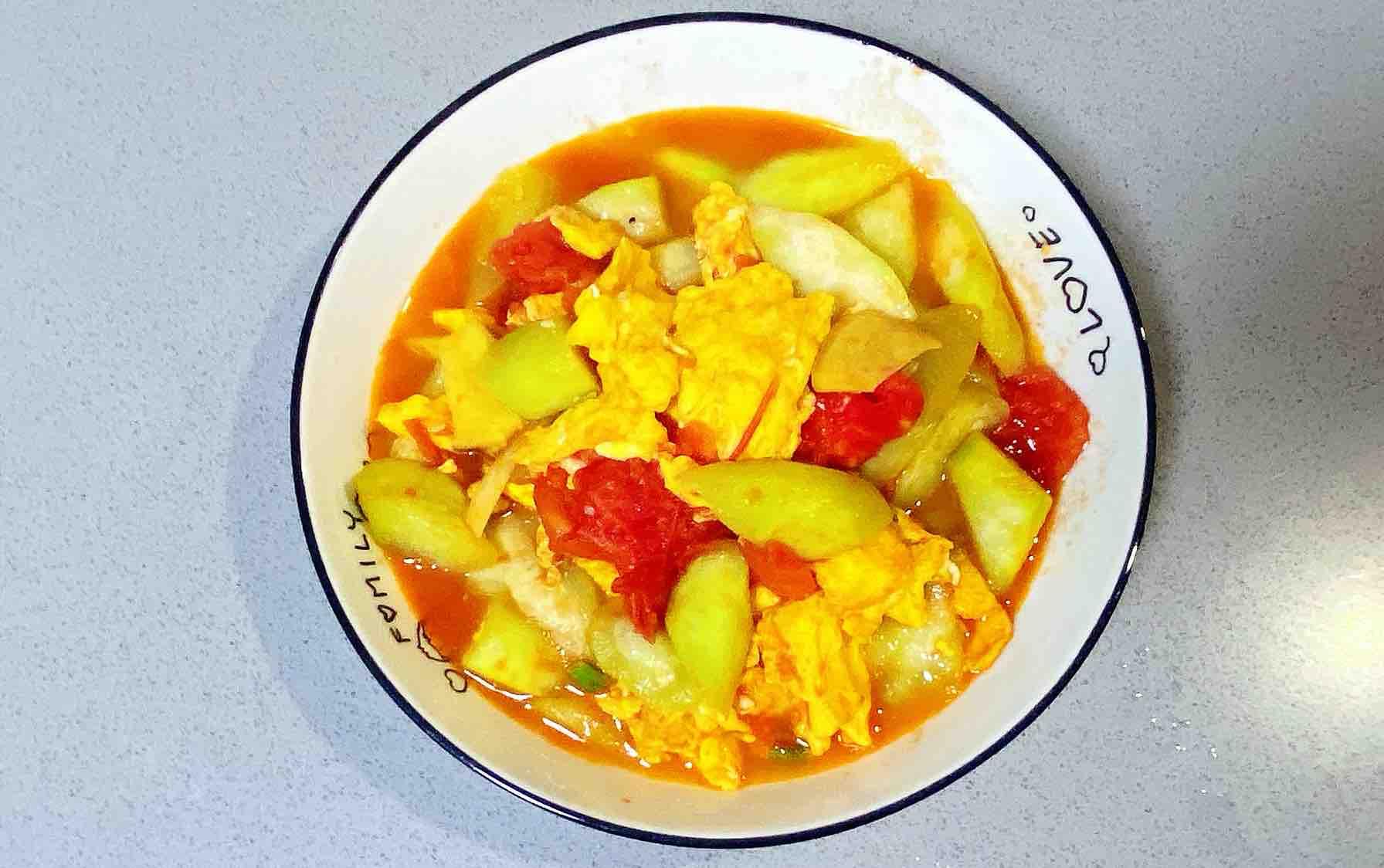 【孕妇食谱】番茄丝瓜炒鸡蛋,酸酸甜甜,营养全面~成品图