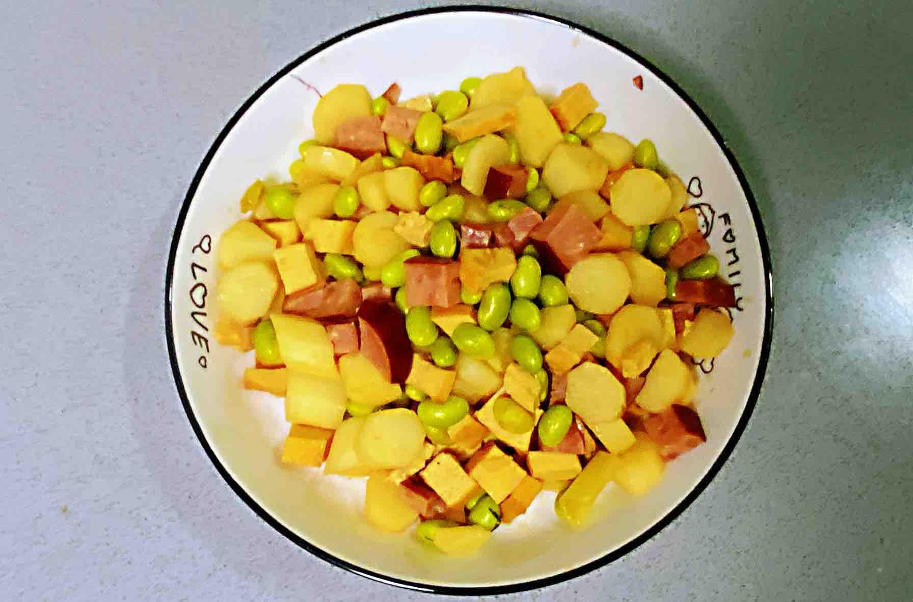 【孕妇食谱】火腿毛豆山药丁,营养丰富、色香味美~怎么煮