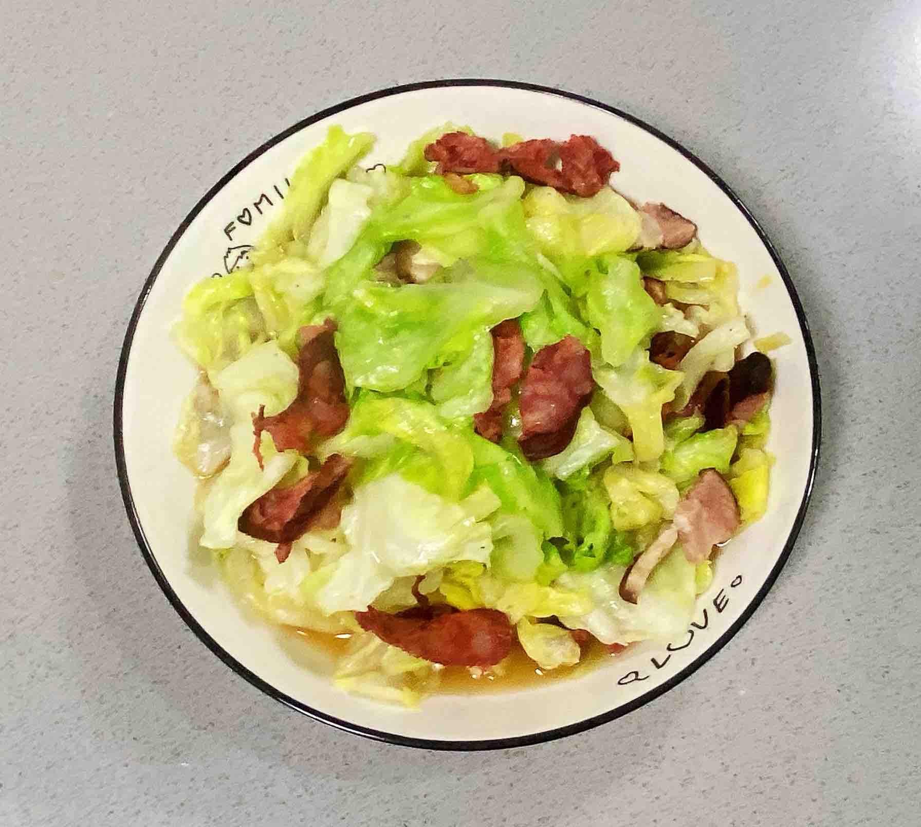 【孕妇食谱】手撕包菜炒腊肠,好吃又好看,美味又下饭~成品图