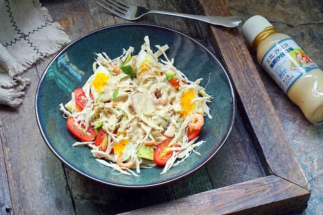 鸡丝果蔬沙拉丘比沙拉汁的制作