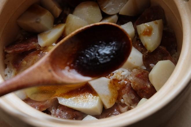 芋头腊肠煲仔饭+白灼菜心的步骤