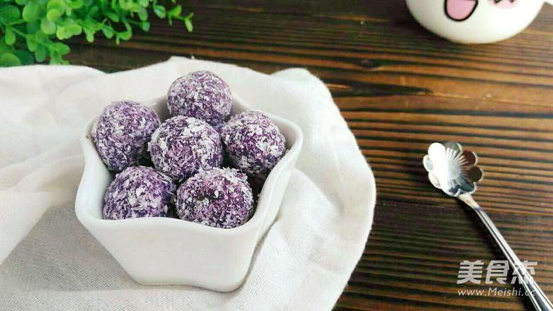 紫薯椰蓉球成品图