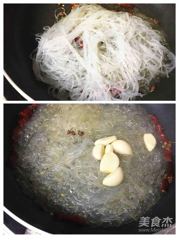 干辣椒菠菜炒粉丝的简单做法