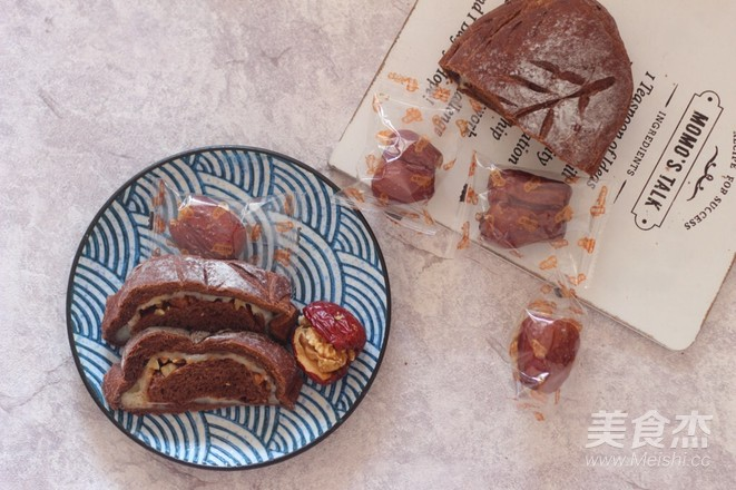 红枣核桃可可麻薯软欧的制作方法
