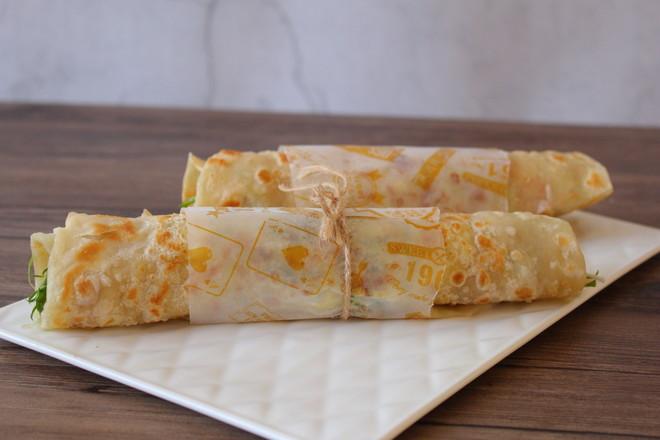 土豆丝鸡蛋卷饼成品图