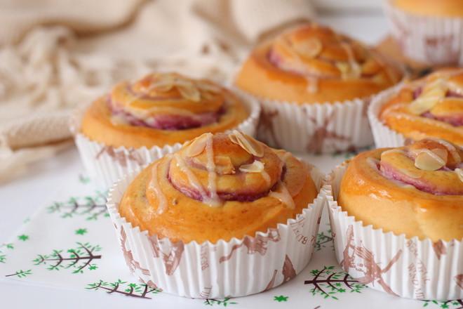香芋紫薯面包卷的制作方法