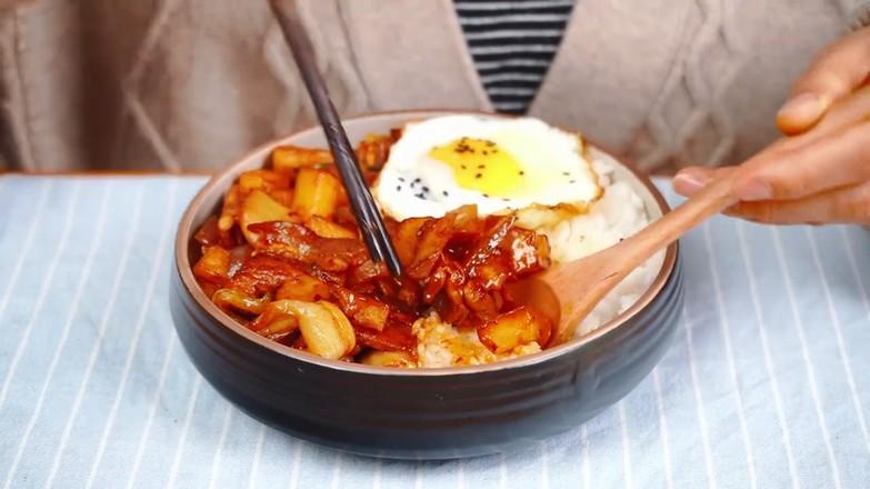 韩式五花肉拌饭成品图