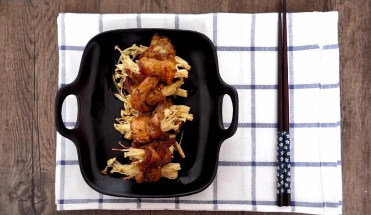 烤五花肉卷金针菇成品图