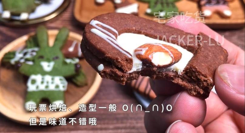 三色卡通曲奇饼干,入口酥脆甜蜜。的制作