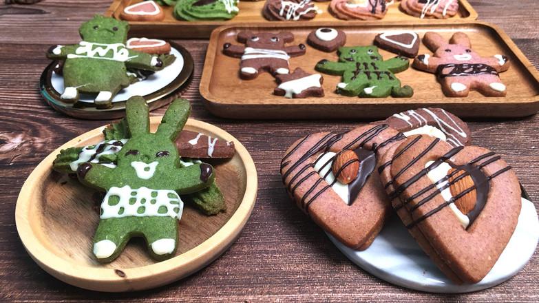 三色卡通曲奇饼干,入口酥脆甜蜜。的制作大全