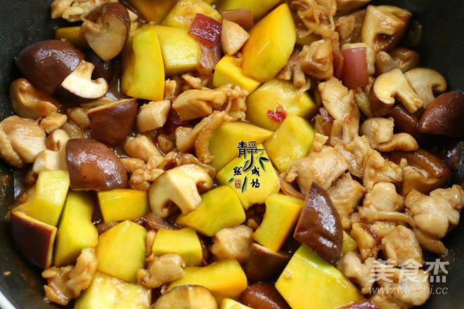 南瓜香菇鸡腿焖饭怎么做