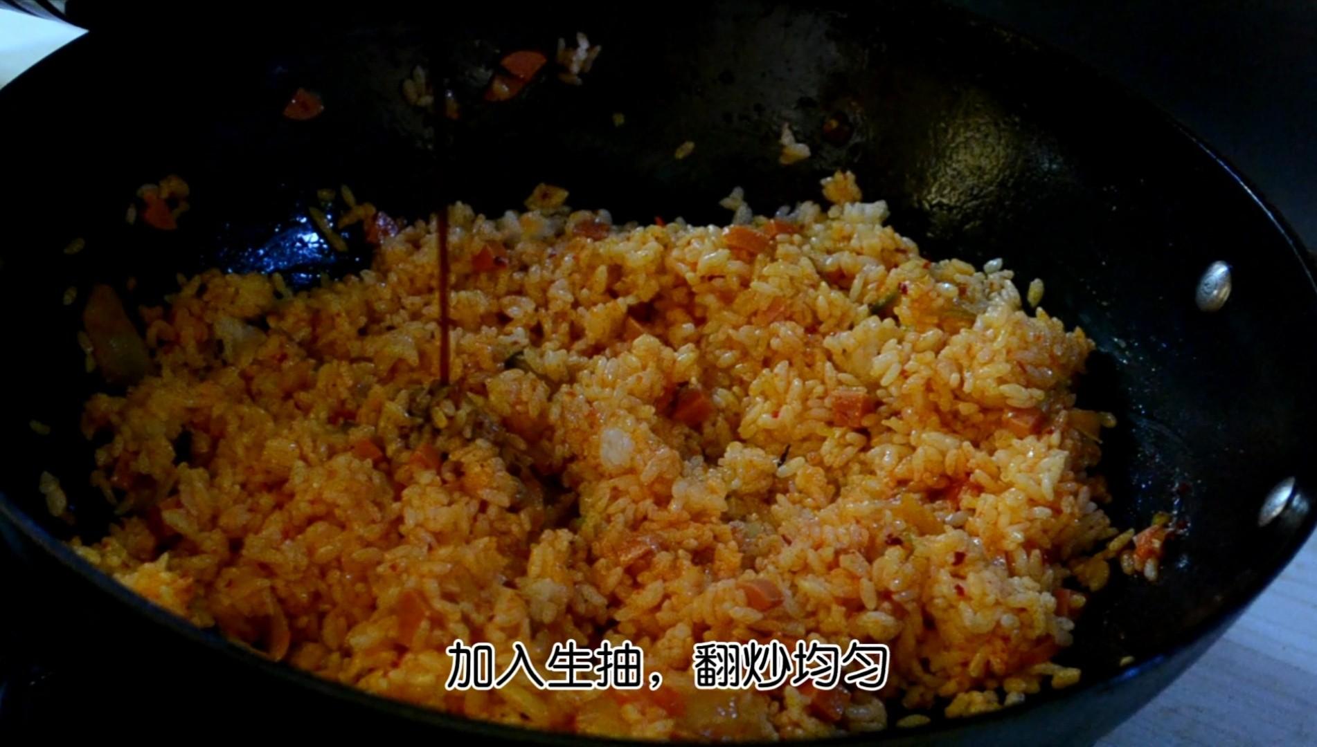 韩式辣白菜炒饭的简单做法