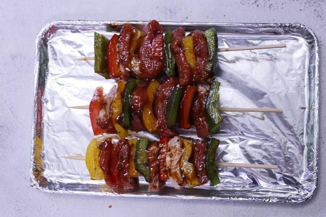 多彩黑椒牛肉串的做法图解