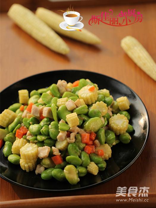 蚕豆玉米笋炒鸡肉成品图