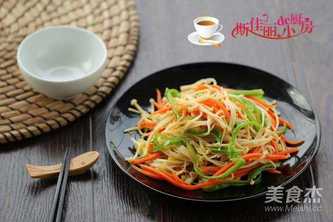 青椒胡萝卜炒金针菇怎么做