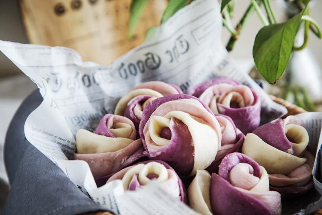 紫薯玫瑰馒头的制作