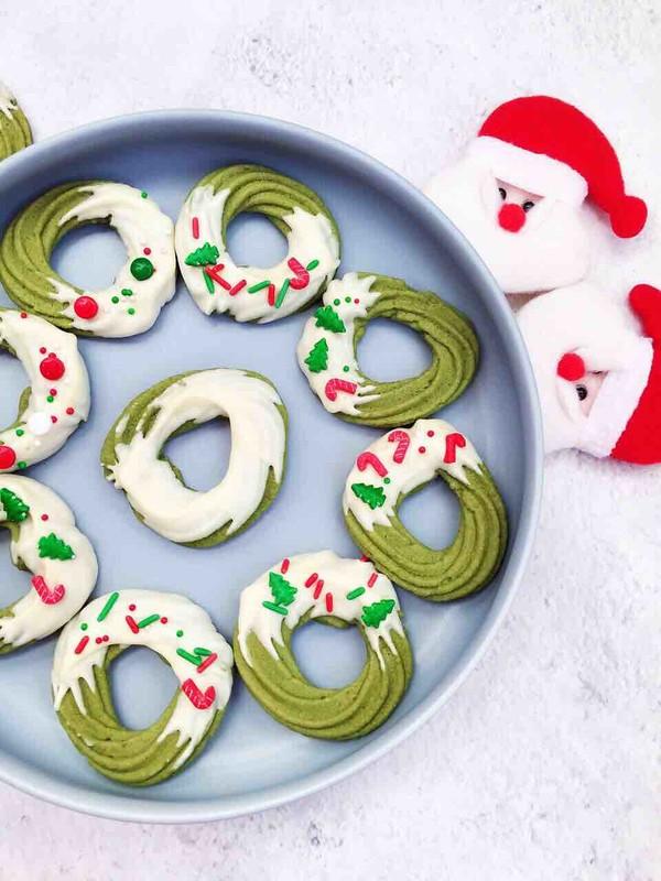 圣诞花环曲奇饼干成品图