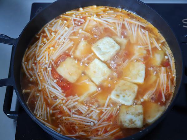 番茄金针豆腐怎样炖