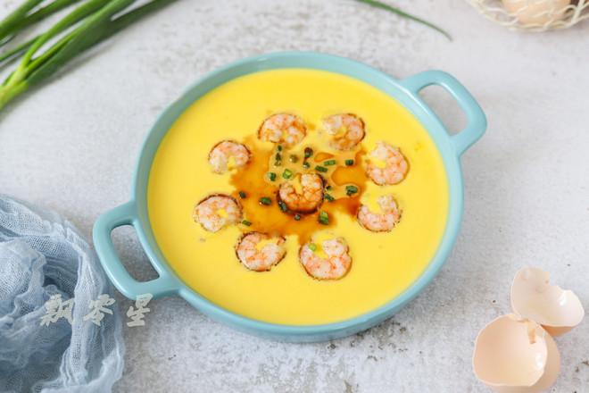 鲜虾蒸水蛋成品图