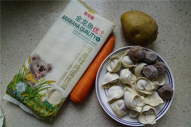 肉丸馄饨汤面的步骤