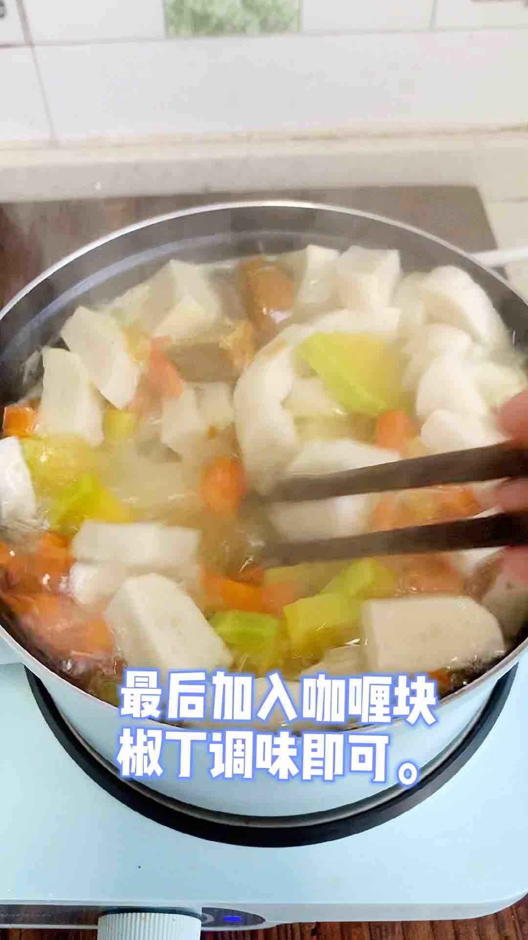 咖喱时蔬鱼饼意面怎么炒